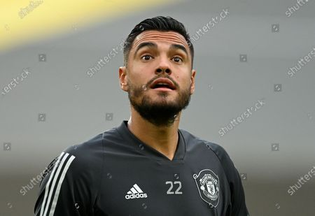 Stock Image of Manchester United's goalkeeper Sergio Romero warms up ahead of the UEFA Europa League quarter final soccer match between Manchester United and FC Copenhagen in Cologne, Germany, 10 August 2020.
