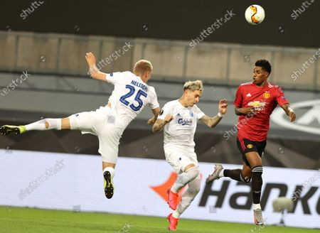 Stock Picture of Manchester United's Marcus Rashford (R) in action against Copenhagen's Guillermo Varela (C) and Copenhagen's Victor Nelsson (L) during the UEFA Europa League quarter final soccer match between Manchester United and FC Copenhagen in Cologne, Germany, 10 August 2020