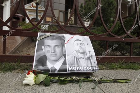 Flowers tributes are seen next to portraits during a rally in support of the Belarus opposition. Belarusian citizens living in Ukraine held a rally of solidarity with Belarus opposition outside the Embassy of Belarus, protesting vote rigging in the presidential election held in Belarus on the 9th Aug 2020, demanding the presidential election results not to be recognized.