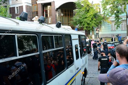 The police detained and takes away activists during a rally where belarusians and activists near the Embassy of Belarus in Kyiv demand the resignation of Alexander Lukashenko and an end to repressions against protesters in Belarus after the past presidential elections on August 9, 2020