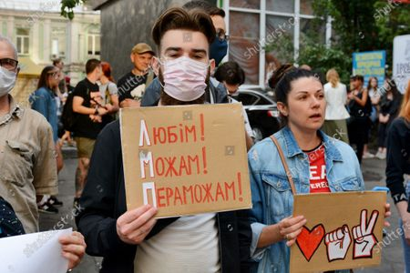 Belarusians and activists near the Embassy of Belarus in Kyiv demand the resignation of Alexander Lukashenko and an end to repressions against protesters in Belarus after the past presidential elections on August 9, 2020
