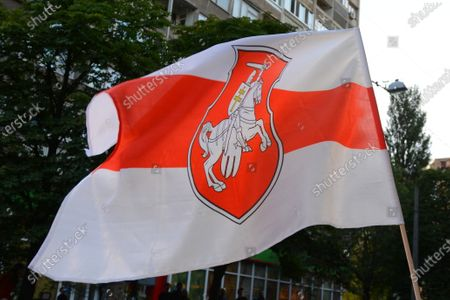 Flag of Belarus during a rally in support of Belarusians near the Embassy of Belarus in Kyiv