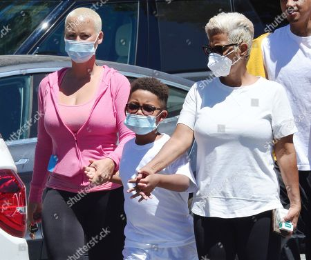 Stock Picture of Amber Rose, son Sebastian Taylor Thomaz and mother Dorothy Rose