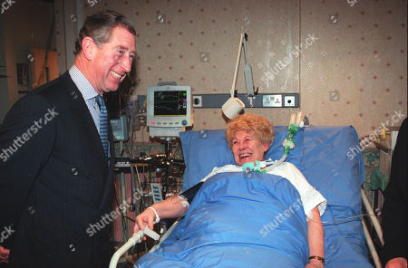 Prince Charles on set visit to ITV British tv programme Coronation Street with cast member Vera Duckworth, as played by Elizabeth Dawn.