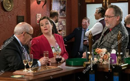 Coronation Street - Ep 9251 Monday 18th September 2017  In the Rovers, Colin, as played by Vic Reeves, from Newsco approaches Norris Cole, as played by Malcolm Hebden, and offers to buy the Kabin, but Norris is adamant it isn't for sale.