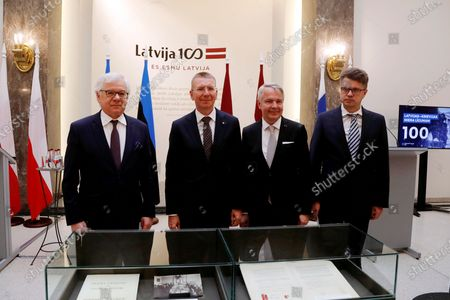 Foreign Affairs Ministers (L-R) Jacek Czaputowicz of Poland, Edgars Rinkevics of Latvia, Pekka Haavisto of Finland and Urmas Reinsalu of Estonia hold a joint press conference after their meeting, in Riga, Latvia, 11 August 2020. Estonian, Latvian, Finnish and Polish foreign ministers met on the day to mark the centenary of the signing of the Latvian-Soviet Peace Treaty and to hold talks on regional cooperation, foreign policy developments as well as security issues.