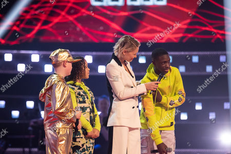 Stock Photo of Battles: Team Will: Ray-Tee, Thalia and Amos perform. Will sends Amos through to the semi final. Pictured - Emma Willis