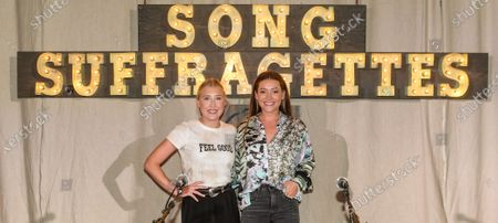 Singer/Songwriters (L-R) Madison Marlow and Taylor Dye or Maddie and Tae on stage at The Listening Room Cafe during The Song Suffragettes writers round.