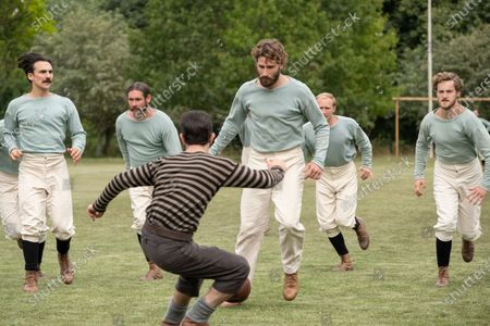 Stock Photo of Henry Lloyd-Hughes as Alfred Lyttelton, Kevin Guthrie as Fergus Suter and Edward Holcroft as Arthur Kinnaird