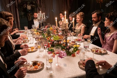 Stock Image of Edward Holcroft as Arthur Kinnaird, Kate Phillips as Laura Lyttelton and Charlotte Hope as Margaret Alma Kinnaird