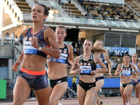 From left, Sofie Van Accom of Belgium, Melissa Courtney-Bryant of Great Britain and NI and Katharina Trost of Germany during women's 1500m run at the athletics Paavo Nurmi Games in Turku, Finland on Tuesday, 11th August, 2020.