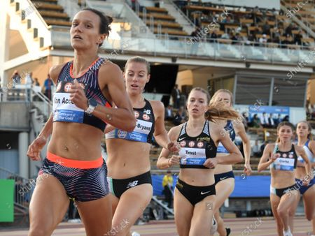 Sofie Van Accom of Belgium (L) Melissa Courtney-Bryant of Great Britain and Katharina Trost of Germany during women's 1500 metres race at the athletics Paavo Nurmi Games in Turku, Finland on Tuesday, 11th August, 2020.