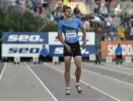 Sprinter Christophe Lemaitre of France was injured during men's preliminary 100 metre heat at the athletics Paavo Nurmi Games in Turku, Finland on Tuesday, 11th August, 2020.