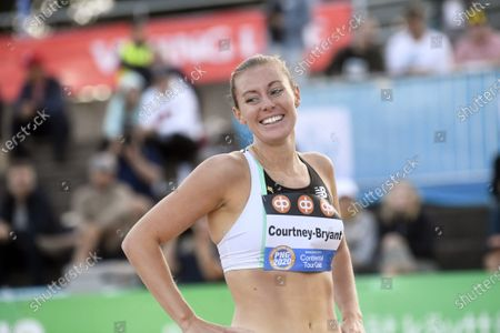Melissa Courtney-Bryant of Great Britain and NI smiles after winning women's 1500m run at the athletics Paavo Nurmi Games in Turku, Finland on Tuesday, 11th August, 2020.