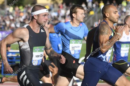 From left, Joris van Gool of Netherlands, Christophe Lemaitre of France and Lamont Marcell Jacobs of Italy during men's 100m heat at the athletics Paavo Nurmi Games in Turku, Finland on Tuesday, 11th August, 2020.