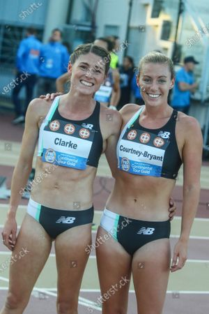 Stock Picture of Britain's Melissa Courtney-Bryant and Rosie Clarke (L) pose for photographs after competing in the women's 1500m event at the Paavo Nurmi Games athletics meeting in Turku, Finland, 11 August 2020.