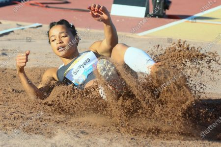 Britain's Jazmin Sawyers in action during the women's Long Jump event at the Paavo Nurmi Games athletics meeting in Turku, Finland, 11 August 2020.