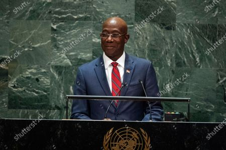 Stock Image of Trinidad and Tobago's Prime Minister Keith Rowley addresses the 74th session of the U.N. General Assembly at the U.N. headquarters. Preliminary election results from an Aug. 10, 2020 vote shows Rowley appearing to have secured re-election, however, the opposition United National Congress has demanded a recount