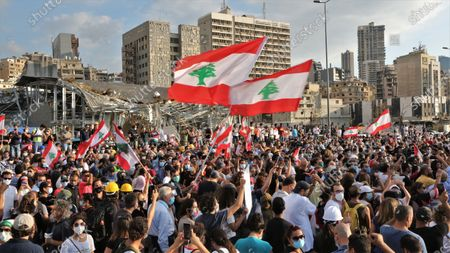 Editorial photo of Anti-government protestors gather near harbor area to commemorate victims of explosion, Beirut, Lebanon - 11 Aug 2020