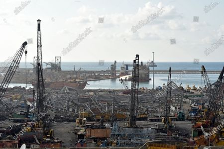 General view of the aftermath of Beirut port blast a week after an explosion rocked the city, Beirut, Lebanon, 11 August 2020.  Lebanese Health Ministry said at least 171 people were killed, and more than 6000 injured in the Beirut blast that devastated the port area on 04 August and believed to have been caused by an estimated 2,750 tons of ammonium nitrate stored in a warehouse.