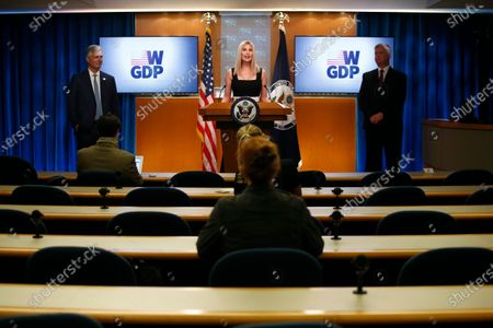 Ivanka Trump, the daughter and advisor to President Donald Trump, speaks during a briefing on the Women's Global Development and Prosperity initiative, at the U.S. State Department in Washington. Standing behind Trump are National Security Advisor Robert O'Brien, left, and Deputy Secretary of State Stephen Biegun