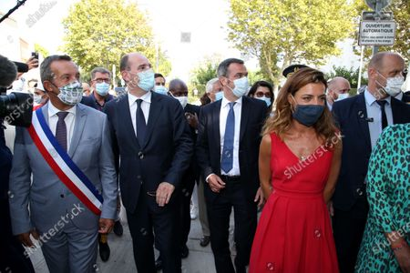 Jean Castex and Stephan Rossignol, mayor of La Grand-Motte and Olivier Veran and Coralie Dubost.  French Prime Minister Jean Castex and French Health Minister Olivier Veran during a visit in La Grande-Motte, southern France