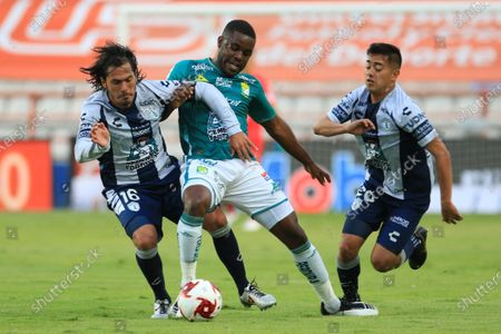 Stock Picture of Jorge Hernandez (L) and Erick Sanchez (R) of Pachuca vies for the ball against Joel Nathaniel Campbell (C) of Leon during a 2020 Guardians of Mexico football tournament match between Tuzos del Pachuca and Leon at the Hidalgo stadium in Pachuca, Mexico, 11 August 2020.