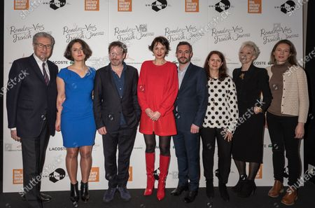 (L-R) Serge Toubiana, Julie Roue, Mathieu Amalric, Jeanne Balibar, Xavier Legrand, Florence Almozini, Tonie Marshall, and Marine Francen attend Renez-Vous with French Cinema Opening Night - Barbara US Premiere