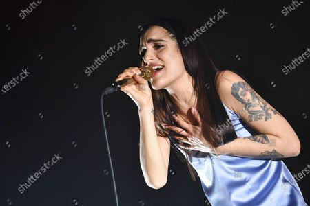 The Italian singer and song-writer Claudia Lagona better known by her stage name Levante performs live at Teatro Augusteo in Napoli with his Caos in Teatro Tour 2018