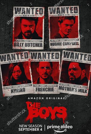 The Boys (2020) Poster Art. Karl Urban as Billy Butcher, Jack Quaid as Hughie Campbell, Karen Fukuhara as The Female, Tomer Capon as Frenchie and Laz Alonso as Mother's Milk