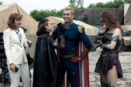 Stock Picture of Colby Minifie as Ashley Barrett, Aya Cash as Stormfront, Antony Starr as Homelander and Dominique McElligott as Queen Maeve