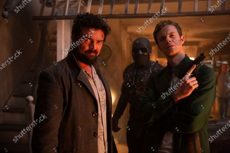 Stock Picture of Karl Urban as Billy Butcher, Nathan Mitchell as Black Noir and Jack Quaid as Hughie Campbell