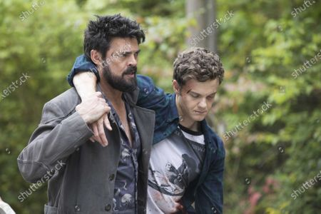 Stock Image of Karl Urban as Billy Butcher and Jack Quaid as Hughie Campbell