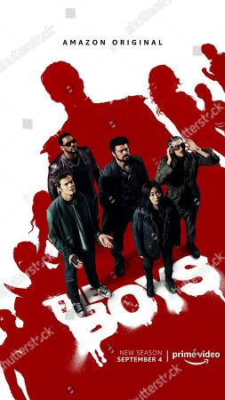 The Boys (2020) Poster Art. Jack Quaid as Hughie Campbell, Laz Alonso as Mother's Milk, Karl Urban as Billy Butcher, Karen Fukuhara as The Female and Tomer Capon as Frenchie