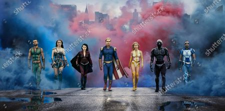 Stock Image of Chace Crawford as The Deep, Dominique McElligott as Queen Maeve, Aya Cash as Stormfront, Antony Starr as Homelander, Erin Moriarty as Starlight/Annie January, Nathan Mitchell as Black Noir and Jessie T. Usher as A-Train