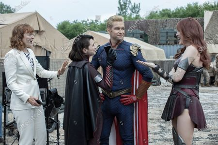 Colby Minifie as Ashley Barrett, Aya Cash as Stormfront, Antony Starr as Homelander and Dominique McElligott as Queen Maeve