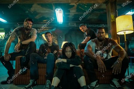 Karl Urban as Billy Butcher, Jack Quaid as Hughie Campbell, Karen Fukuhara as The Female, Tomer Capon as Frenchie and Laz Alonso as Mother's Milk