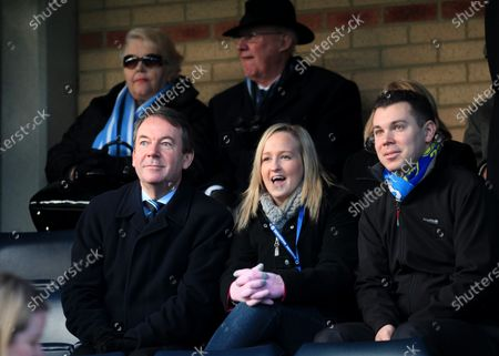 Eric Knowles (front row, far left) a British Antiques expert and television personality watches Wycombe Wanderers from the Main Stand during Wycombe Wanderers vs Exeter City, NPower League Two Football at Adams Park on 1st January 2013