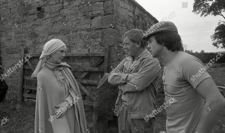 Emmerdale Farm - Ep 545 Tuesday 15th January 1980 Enid disapproves of Matt and Joe's rough handling of an injured sheep. With Enid Pottle, as played by Anne Dyson ; Joe Sugden, as played by Frazer Hines ; Matt Skilbeck, as played by Frederick Pyne.