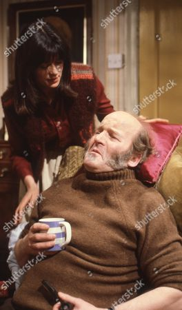 Emmerdale Farm - Ep 566 Thursday 27th March 1980  Amos attempts home fitness. With Amos, as played by Ronald Magill ; Judy Westrop, as played by Jane Cussons.