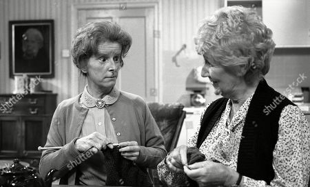 Stock Image of Emmerdale Farm - Ep 617 Tuesday 11th November 1980  Henry is expecting a visit from his cousin - and Amos is far from pleased. With Emily Brearly, as played by Ann Way; Alice Wilks, as played by Hazel Bainbridge.