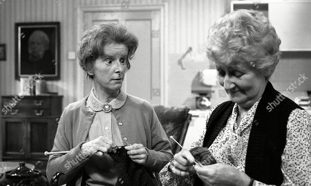 Stock Picture of Emmerdale Farm - Ep 617 Tuesday 11th November 1980  Henry is expecting a visit from his cousin - and Amos is far from pleased. With Emily Brearly, as played by Ann Way; Alice Wilks, as played by Hazel Bainbridge.