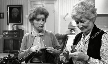 Stock Photo of Emmerdale Farm - Ep 617 Tuesday 11th November 1980  Henry is expecting a visit from his cousin - and Amos is far from pleased. With Emily Brearly, as played by Ann Way; Alice Wilks, as played by Hazel Bainbridge.
