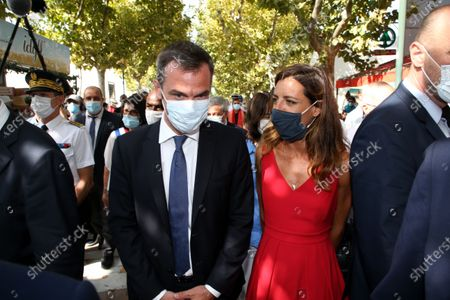 The Minister of Health Olivier Veran and his companion the deputy of the 3rd circumstription of the Herault Coralie Dubost during the Prime Minister's visit to La Grande-Motte.