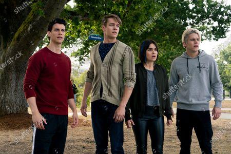 Stock Photo of Adam DiMarco as Randall Carpio, Thomas Elms as Hamish Duke, Devery Jacobs as Lilith Bathory and Jake Manley as Jack Morton