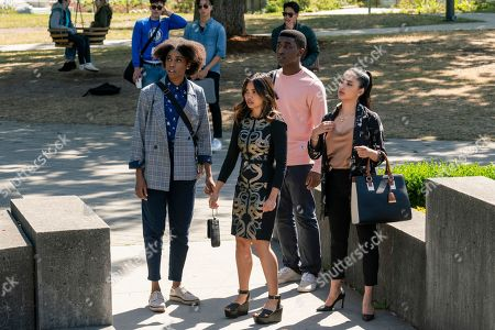 Stock Picture of Anesha Bailey as Nicole Birch, Louriza Tronco as Gabrielle Dupres, Austin Anozie as Angus Carter and Kayla Heller as Selena Durov