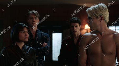 Devery Jacobs as Lilith Bathory, Thomas Elms as Hamish Duke, Adam DiMarco as Randall Carpio and Jake Manley as Jack Morton