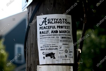Signage, graffiti and protests in support of Black Lives Matter and George Floyd are seen throughout the Boston suburb of Arlington, Massachusetts. Arlington Police reported four separate acts of vandalism on August 11, 2020 at First Parish Unitarian Universalist church of Arlington, Cavalry Church and two private homes where a mural was destroyed and KKK stickers were affixed to lawn signs.