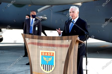 Former President of Brazil Michel Temer (2016-2018), descendant of a family of Lebanese origin, offers statements prior to leaving to Lebanon with basic medicines and health supplies, at the Sao Paulo Air Base, Brazil, 12 August 2020. Brazil sent a mission to Lebanon on Wednesday with about six tons of food and medical supplies after the devastating explosion that struck the port of Beirut last week, leaving 171 dead and more than 6,000 injured so far.