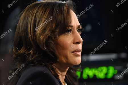 Stock Image of On August 11, 2020 former VP Joe Biden named Kamala Harris as his running mate, making the California senator the first Black and South Asian American woman to run on a major political party's presidential ticket.  The image shot at the 2020 Democratic Party presidential debates held at The Adrienne Arsht Center on June 27, 2019 in Miami